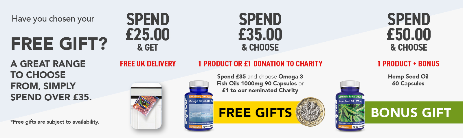 Free gifts when you spend over £35
